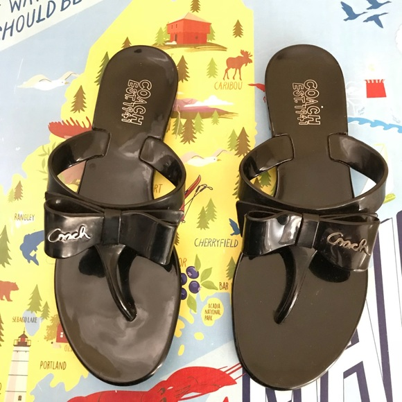 "88bae8ac958f Coach Shoes - COACH ""Pretty"" Jelly Bow Flip Flop Sandals"